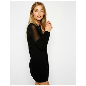 ASOS Knitted Jumper Dress w/ Mesh Inserts